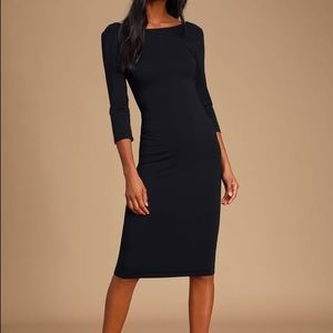 NWT Lulus Black Midi Dress